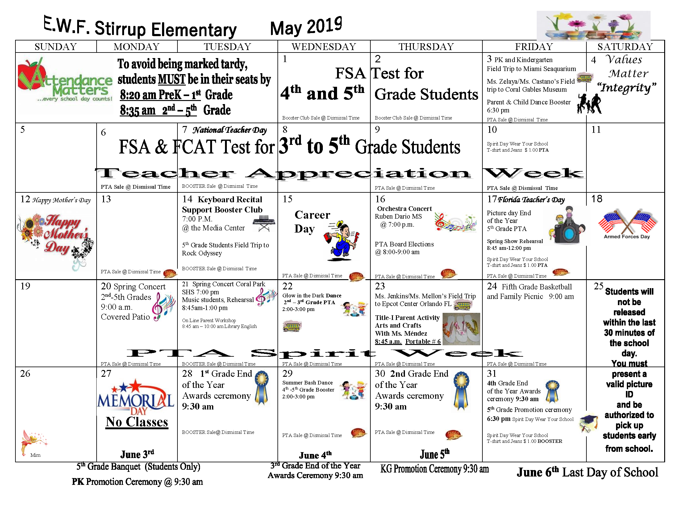 PARENT CALENDAR MAY 2018-2019