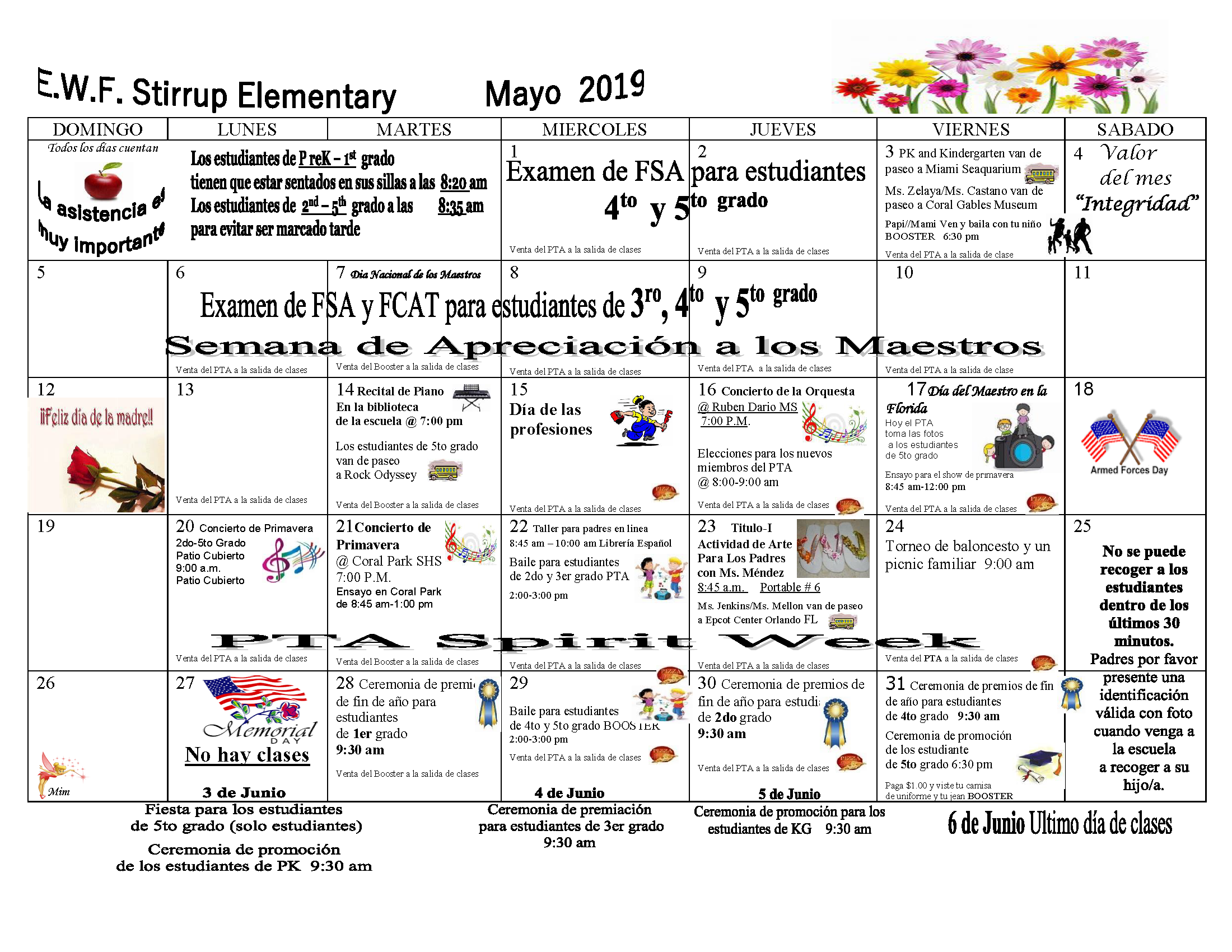 PARENT CALENDAR MAY 2018-2019 Spanish