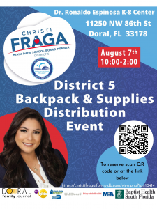 District 5 Back to School Backpack and School Distribution @ Dr. Rolando Espinosa K-8 Center   Doral   Florida   United States
